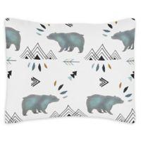 Sweet Jojo Designs Bear Mountain Reversible Standard Pillow Sham in Blue/Black