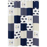 Sweet Jojo Designs Big Bear Arrow Print Shower Curtain in Navy/Gold