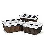 Sweet Jojo Designs Big Bear Basket Liners in Navy (Set of 3)
