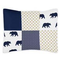 Sweet Jojo Designs Big Bear Reversible Standard Pillow Sham in Navy/Gold