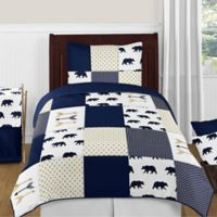 Sweet Jojo Designs Big Bear 4-Piece Twin Comforter Set in Blue/Gold