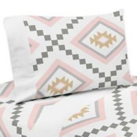 Sweet Jojo Designs Aztec 3-Piece Twin Sheet Set in Pink/Gold