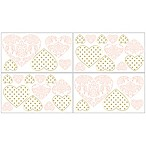 Sweet Jojo Designs Amelia Heart Wall Decal Stickers in Pink/Gold