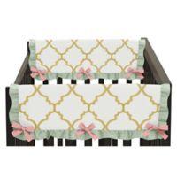 Sweet Jojo Designs Ava Short Rail Guards in Gold/White (Set of 2)