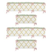 Sweet Jojo Designs Ava 4-Piece Crib Bumper Set in Gold/White