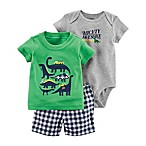 carter's® Newborn 3-Piece Dino Little Short Set in Green