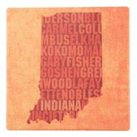 Thirstystone® Indiana State Words Round Single Coaster