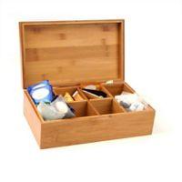 Mind Reader Bamboo 8-Compartment Tea Storage