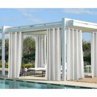 Coastal 108-Inch Indoor/Outdoor Grommet Top Window Curtain Panel in White