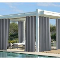 Coastal 96-Inch Indoor/Outdoor Grommet Top Window Curtain Panel in Grey