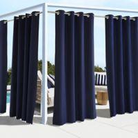Coastal 96-Inch Indoor/Outdoor Grommet Top Window Curtain Panel in Navy