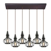 Elk Lighting Yardley 6-Light Pendant in Oil Rubbed Bronze with Metal Shades and Closed Bracket
