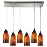Elk Lighting Verona 6-Light Pendant in Satin Nickel with Brown Glass Shades