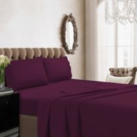 Tribeca Living Solid Color 350-Thread-Count Cotton Percale Standard Pillowcase Set in Purple