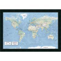Amanti Art 2016 Physical World Map 39-Inch x 27-Inch Framed Wall Art