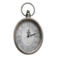 Stratton Home Décor Small Antique Oval Wall Clock in Silver