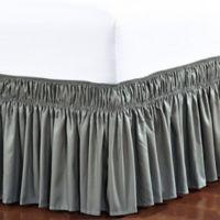 De Moocci Easy Wrap Ruffled Twin/Full Bed Skirt in Grey