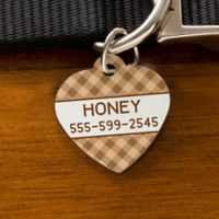 Plaid Heart Dog ID Tag