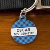 Plaid Circle Dog ID Tag