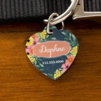 Floral Heart Dog ID Tag