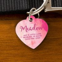 Watercolor Heart Dog ID Tag