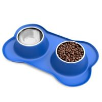 PETMAKER™ 24 oz. Pet Bowls with Non-Slip Silicone Tray in Blue/Stainless Steel