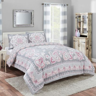 Marble Hill Nala Reversible Queen Comforter Set In Grey