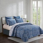 Jakarta Reversible Full/Queen Quilt Set in Blue