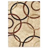 Orian Rugs Impressions Circle Bisque Shag 7'10 x 10'10 Area Rug in Biege
