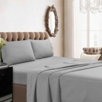 Tribeca Living Solid Color 350-Thread-Count Percale Deep-Pocket Queen Sheet Set in Silver