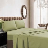 Tribeca Living Solid Color 350-Thread Count Percale Deep-Pocket Twin Sheet Set in Green