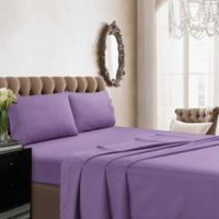 Tribeca Living Solid Color 350-Thread Count Percale Deep-Pocket Full Sheet Set in Lavender