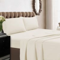 Tribeca Living 350-Thread Count Percale Deep-Pocket California King Sheet Set in Ivory