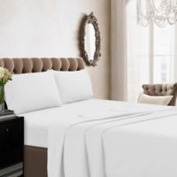 Tribeca Living Solid Color 350-Thread Count Percale Deep-Pocket Twin Sheet Set in White