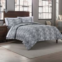 Garment Washed Printed King Comforter Set in Grey Medallion