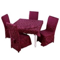 Stylemaster® Genoa 9-Piece 52-Inch Square Tablecloth Set in Burgundy
