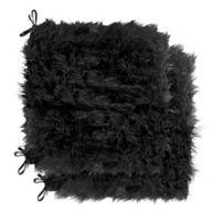 Laredo Faux Sheepskin Chair Pads in Black (Set of 2 )