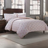 Garment Washed Cotton Damask Printed Twin/Twin XL Comforter Set in Blush