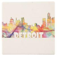 Thirstystone® Dolomite Detroit Skyline Single Square Coaster