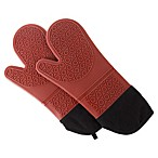 Nottingham Home Lavish Silicone Oven Mitts in Red