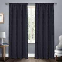 Damask 108-Inch Rod Pocket Room Darkening Window Curtain Panel Pair in Navy
