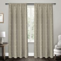 Damask 108-Inch Rod Pocket Room Darkening Window Curtain Panel Pair in Taupe