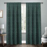 Damask 108-Inch Rod Pocket Room Darkening Window Curtain Panel Pair in Teal