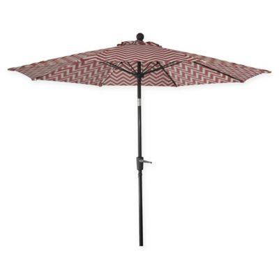 Market 9 Foot Round Umbrella In Red/White