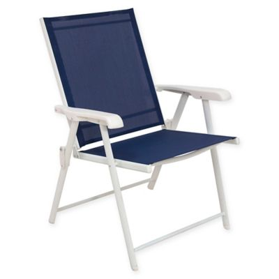 Never Rust Aluminum Folding Sling Chairs In White (Set Of 2)