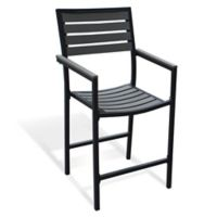 Metro All-Weather Resin Wood High Dining Chairs in Black (Set of 2)