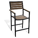 Metro All-Weather Resin Wood High Dining Chairs in Walnut (Set of 2)
