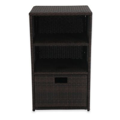 barrington outdoor wicker towel storage in brown - Towel Storage