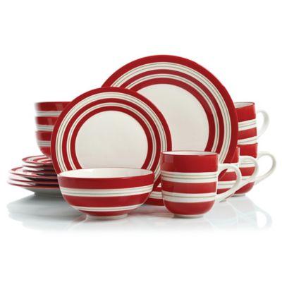 Studio California Sunset Stripes 16-Piece Dinnerware Set in Red/White  sc 1 st  Bed Bath \u0026 Beyond & Buy Red White Dinnerware from Bed Bath \u0026 Beyond