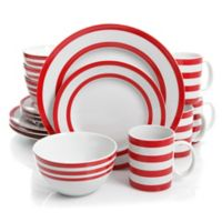 Gibson Just Dine Bistro Edge 16-Piece Dinnerware Set in Red/White
